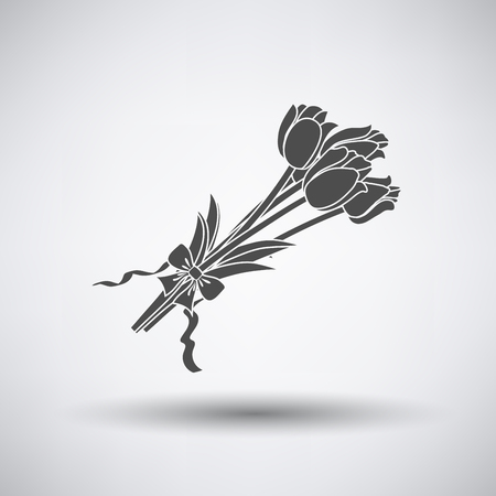 bouquet: Tulips bouquet icon with tied bow on gray background with round shadow. Illustration