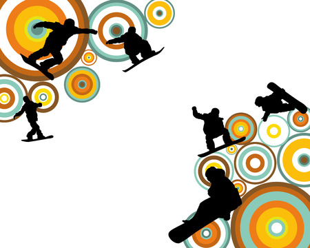 retro circles: Jumping  snowboarder silhouette  over abstract circles retro colors background.  Illustration