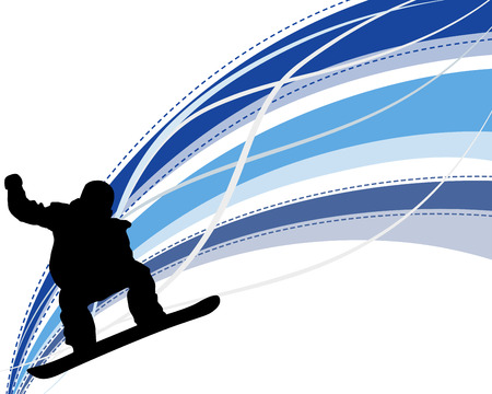 snowboarder: Jumping  snowboarder silhouette  over abstract line background.