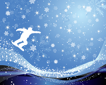 snowboarder: Jumping  snowboarder over abstract line background with snowflakes.