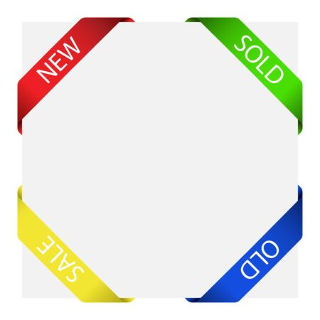 red banner: Set of four corner labels in different colors over gray paper sheet.