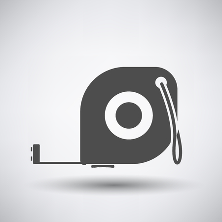 gauging: Constriction tape measure icon on gray background with round shadow.