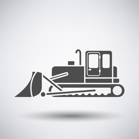 dredger: Construction bulldozer icon on gray background with round shadow.