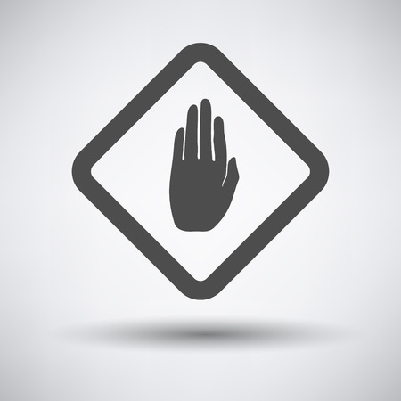 dont: Warning hand icon on gray background with round shadow. Illustration