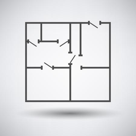 Flat plannen pictogram op een grijze achtergrond met ronde schaduw.