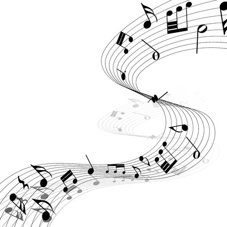 bass: Musical Design Elements From Music Staff With Treble Clef And Notes in Black and White Colors. Elegant Creative Design With Shadows and Isolated on White.