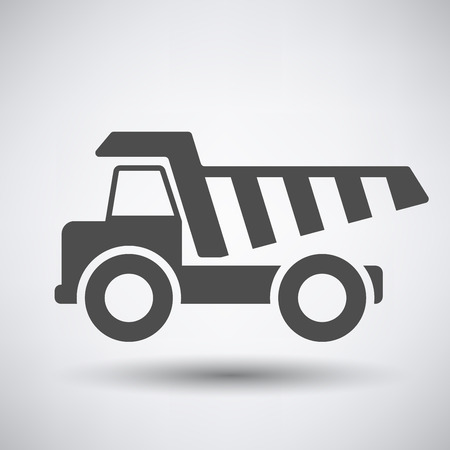 payload: Tipper car  icon on gray background with round shadow. Illustration
