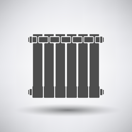 thawing: Radiator icon on gray background with round shadow.