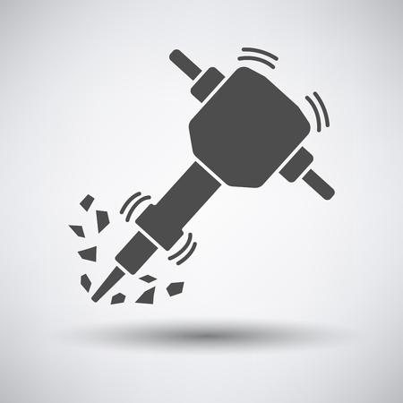 Construction Bohrhammer Symbol auf grauem Hintergrund mit runden Schatten.