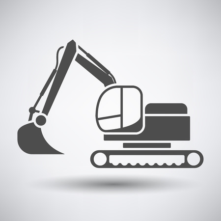 wheeled tractor: Construction bulldozer icon on gray background with round shadow.