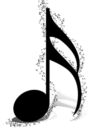 crotchets: Musical Design Elements From Music Staff With Treble Clef And Notes in Black and White Colors. Elegant Creative Design With Shadows and Isolated on White.