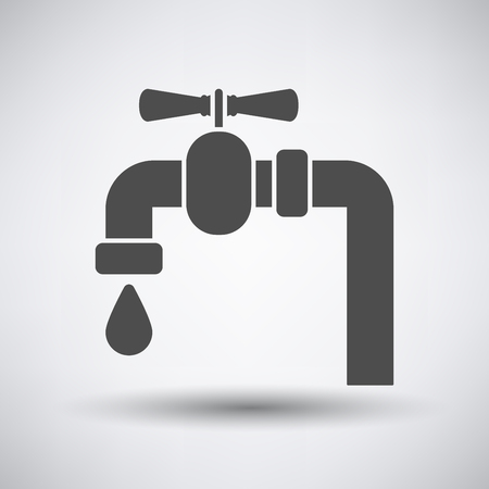 Pipe with valve icon on gray background with round shadow.