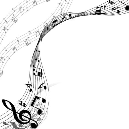 Diseño de los elementos musicales del personal de la música con Clave de sol y notas en colores blancos y Negro. Diseño elegante creativo con las sombras y aislado en blanco. Ilustración de vector