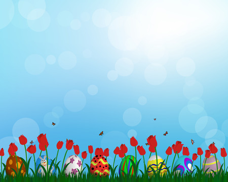 springtime: Easter eggs on springtime meadow with blue sky. Vector illustration.