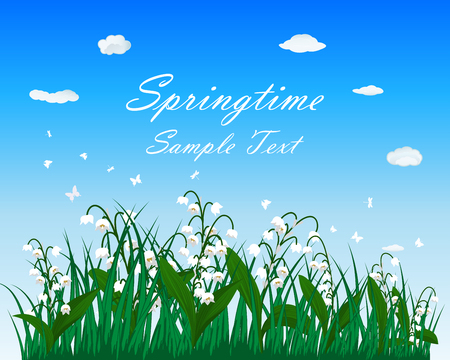 springtime: Springtime meadow with blue sky and butterflies. Vector illustration.