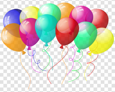 Trasparenti palloncini colorati in aria su sfondo grigio griglia. Illustrazione vettoriale.