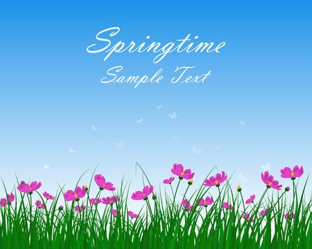 Prato di primavera con cielo blu e le farfalle. Illustrazione vettoriale.