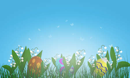 grass close up: Easter eggs on springtime meadow with blue sky. Vector illustration.