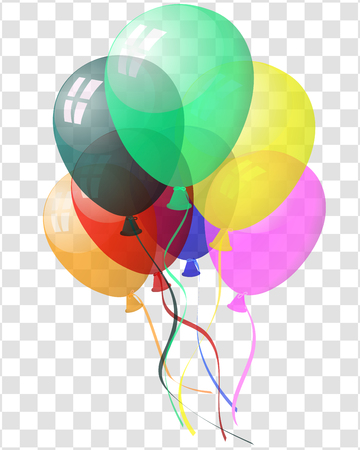 transparency: Transparent colorful balloons in air on gray grid background. Vector illustration. Illustration