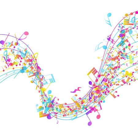music staff: Multicolor musical design from music staff elements with copy space. Elegant creative design isolated on white. Vector Illustration.