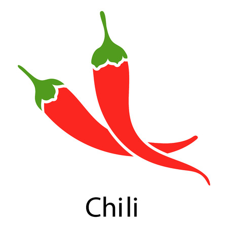 Red chili pepper icon on white background. Vector illustration.
