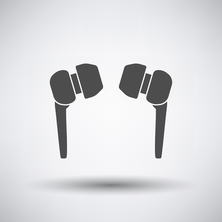 ear phones: Headset  icon on gray background with round shadow. Vector illustration.