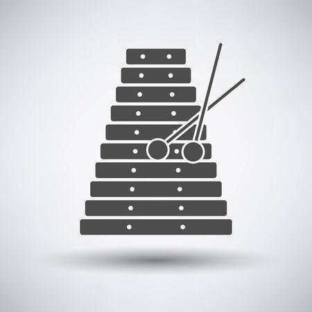 icona Xilofono su sfondo grigio con ombra rotonda. Illustrazione vettoriale.