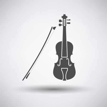 winds: Violin icon on gray background with round shadow. Vector illustration.