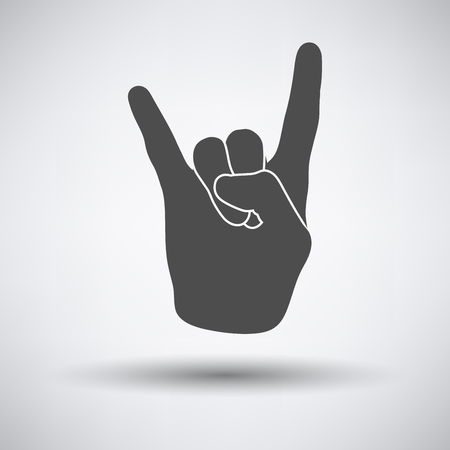 hand sign: Rock hand icon on gray background with round shadow. Vector illustration. Illustration