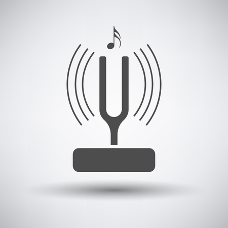 vibrate: Tuning fork icon on gray background with round shadow. Vector illustration. Illustration