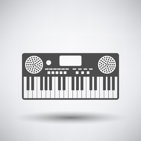synthesizer: Music synthesizer icon on gray background with round shadow. Vector illustration. Illustration