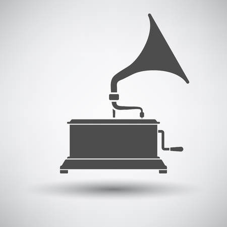 restored: Gramophone icon on gray background with round shadow. Vector illustration.