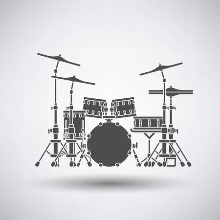 drum set: Drum set icon on gray background with round shadow. Vector illustration.