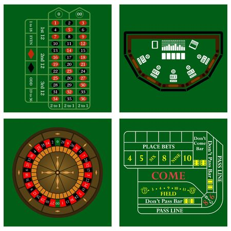 knave: Casino set on green background. Vector illustration.