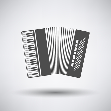 concertina: Accordion icon on gray background with round shadow. Vector illustration. Illustration