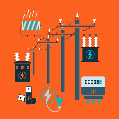 Electricity line flat design theme. Vector illustration.
