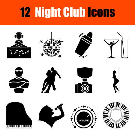 night club: Set of twelve Night club black icons. Vector illustration.