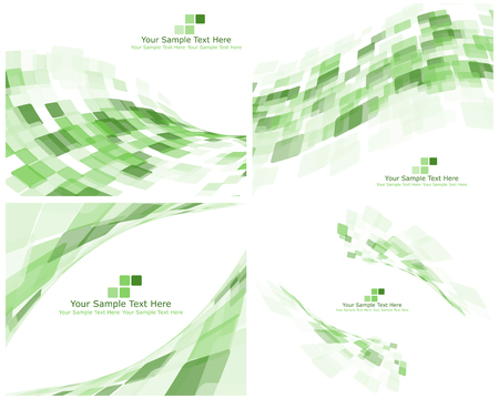 green backgrounds: Set of 4 Checkered Abstract Backgrounds. Green color. Vector illustration Illustration
