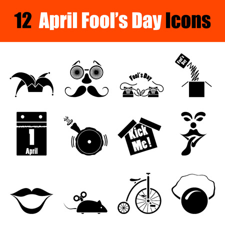 idiot box: Set of twelve April Fools day black icons. Vector illustration.