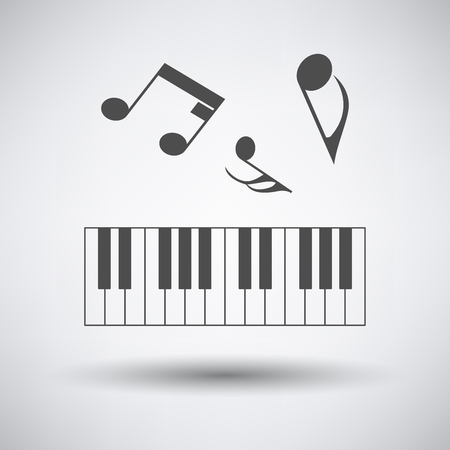 octaves: Piano keyboard icon on gray background with round shadow. Illustration