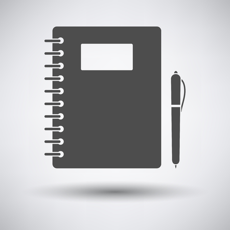study icon: Exercise book with pen icon on gray background with round shadow. Illustration