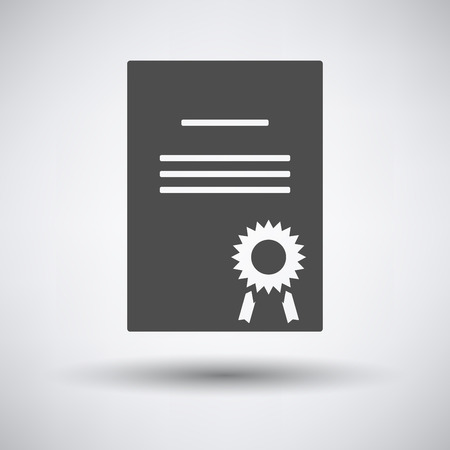 white achievement: Diploma icon on gray background with round shadow. Illustration