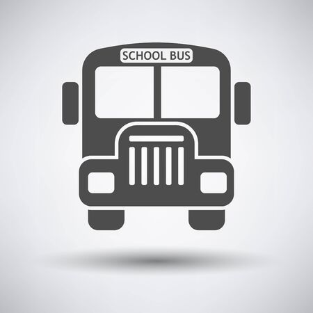 street symbols: School bus icon on gray background with round shadow. Illustration