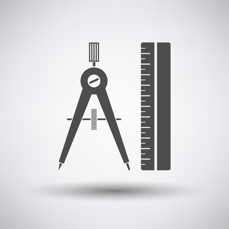 compasses: Compasses and scale icon on gray background with round shadow.