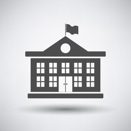Ikona budynku szkoły na szarym tle z okrągłym cieniem. Ilustracje wektorowe