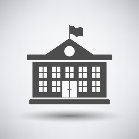 building estate: School building icon on gray background with round shadow.
