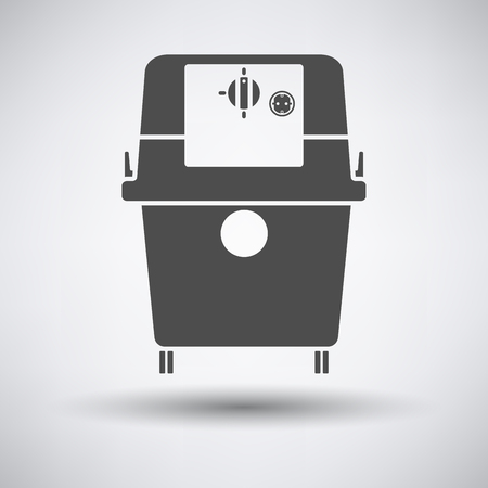 heavy duty: Vacuum cleaner icon on gray background with round shadow. Vector illustration.