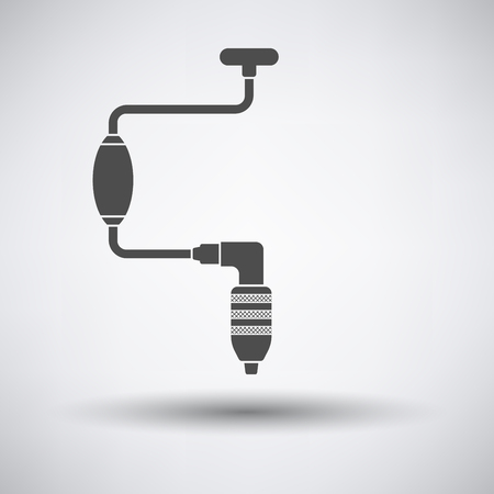 drill: Auger icon on gray background with round shadow. Vector illustration.