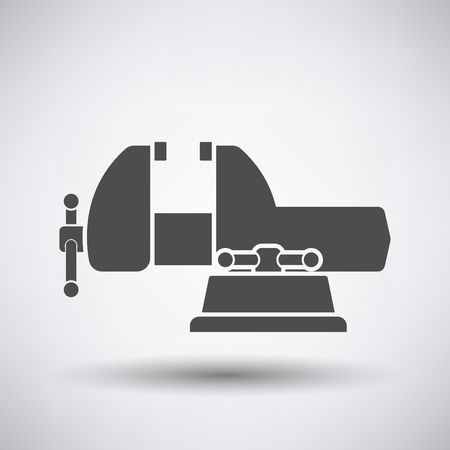 metal parts: Vise icon on gray background with round shadow. Vector illustration.
