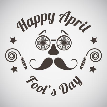 emblema Pesce d'aprile con occhiali e maschera baffi. Illustrazione vettoriale.
